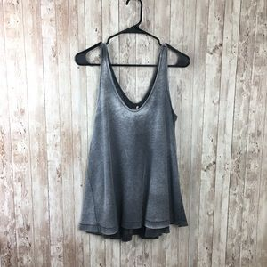 Free People Gray Thermal Ombre Large Tank Top